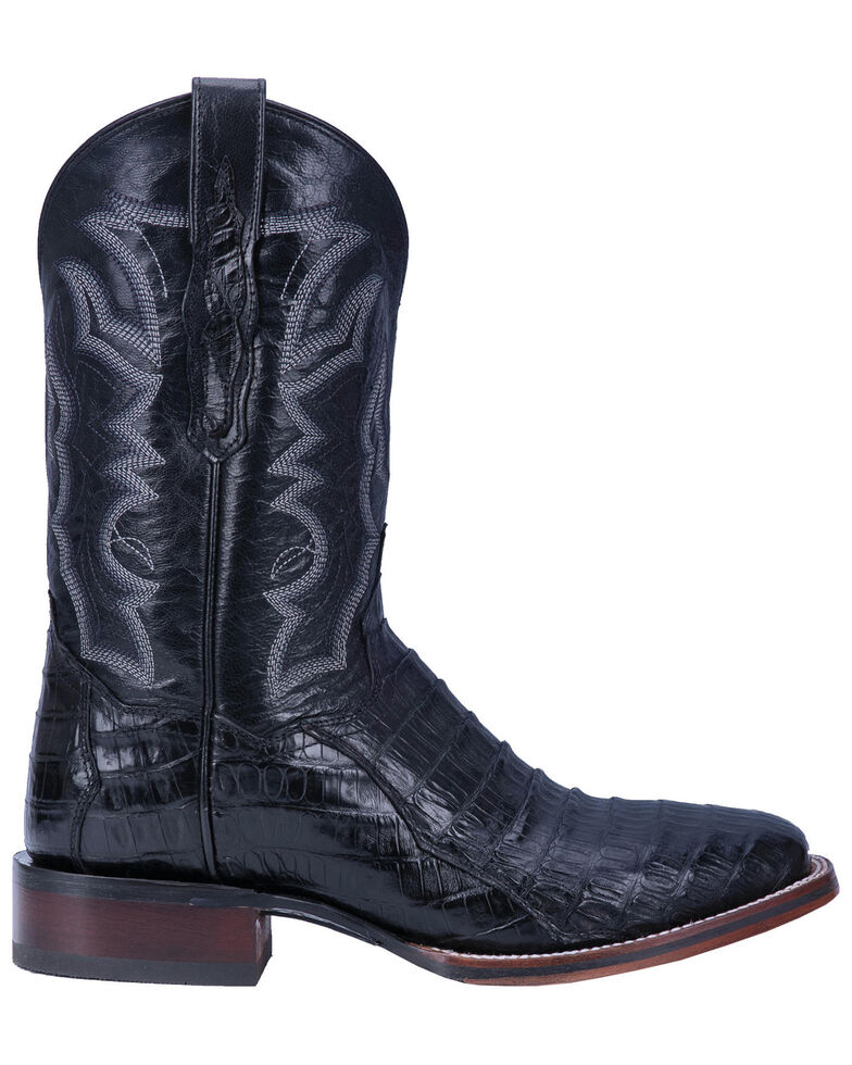 Dan Post Men's Kingsly Black Caiman Western Boots - Wide Square Toe, Black, hi-res