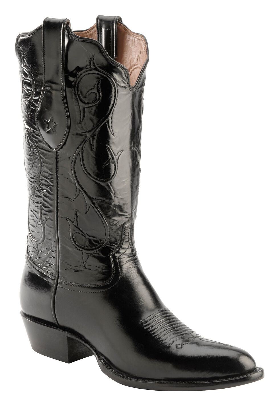 Tony Lama Signature Series Brushed Goat Cowboy Boots - Medium Toe, Black, hi-res