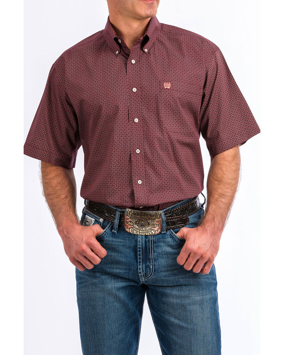 Cinch Men's Purple Geo Print Short Sleeve Button Shirt , Purple, hi-res