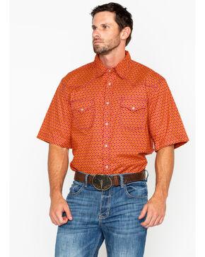 Wrangler 20X Men's Orange Advanced Comfort Short Sleeve Western Shirt, Red, hi-res