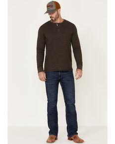 North River Men's Waffle Henley Knit Long Sleeve Shirt , Brown, hi-res