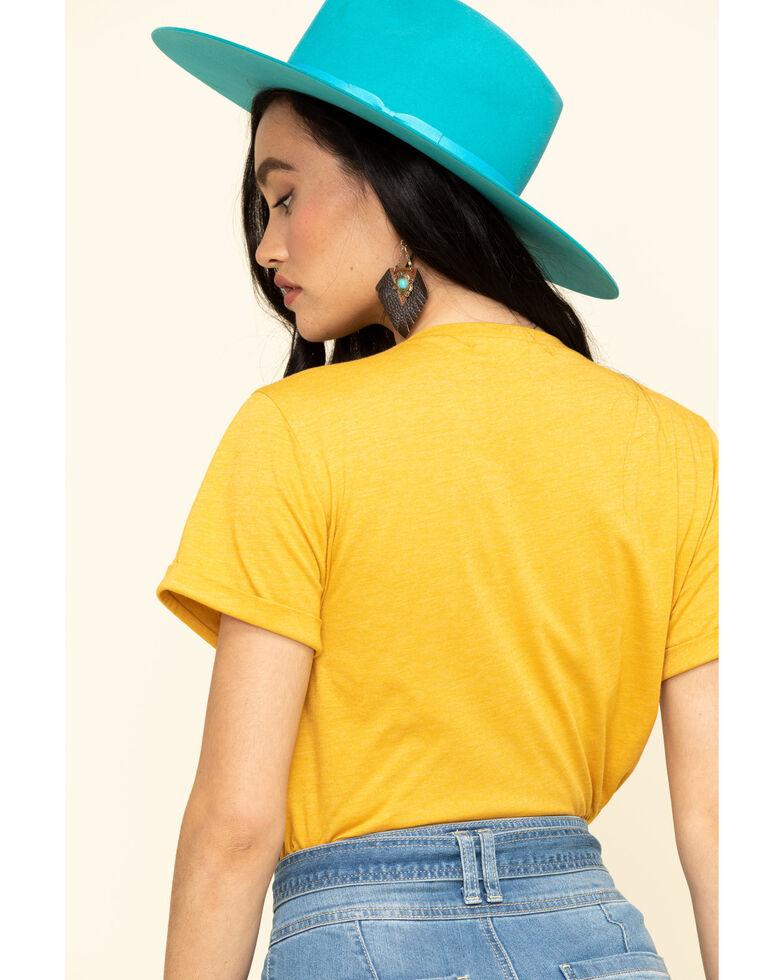 Cut & Paste Women's Mustard Whiskey Sunrise Steer Head Graphic Tee , Dark Yellow, hi-res