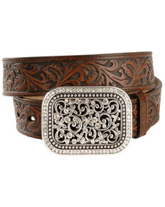 Ariat Floral Leather Belt, Brown, hi-res