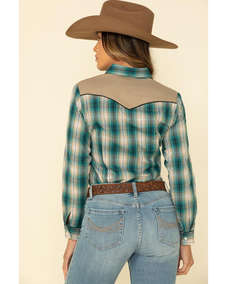 Karman Women's Green & Teal Plaid Horse Long Sleeve Western Shirt, Green, hi-res