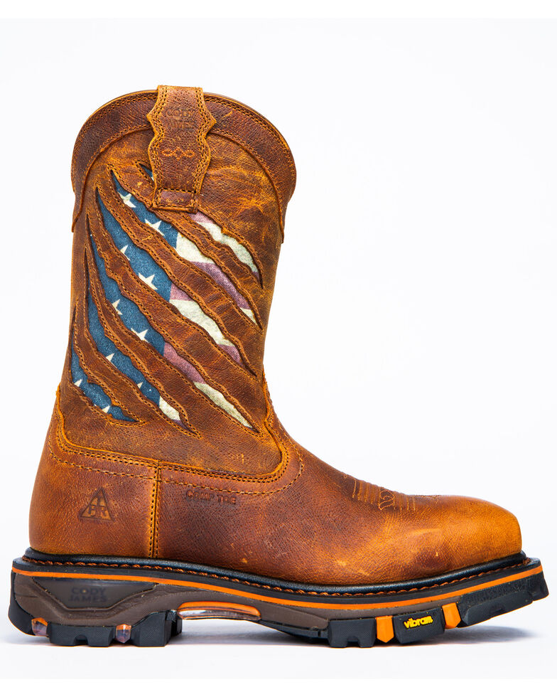 Cody James Men's Flag Western Work Boots - Composite Toe, Brown, hi-res