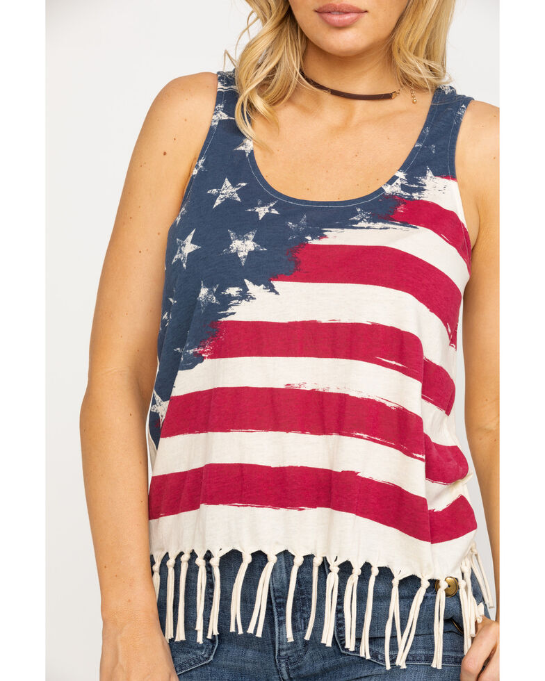 Others Follow Women's American Flag Fringe Tank Top, Red/white/blue, hi-res
