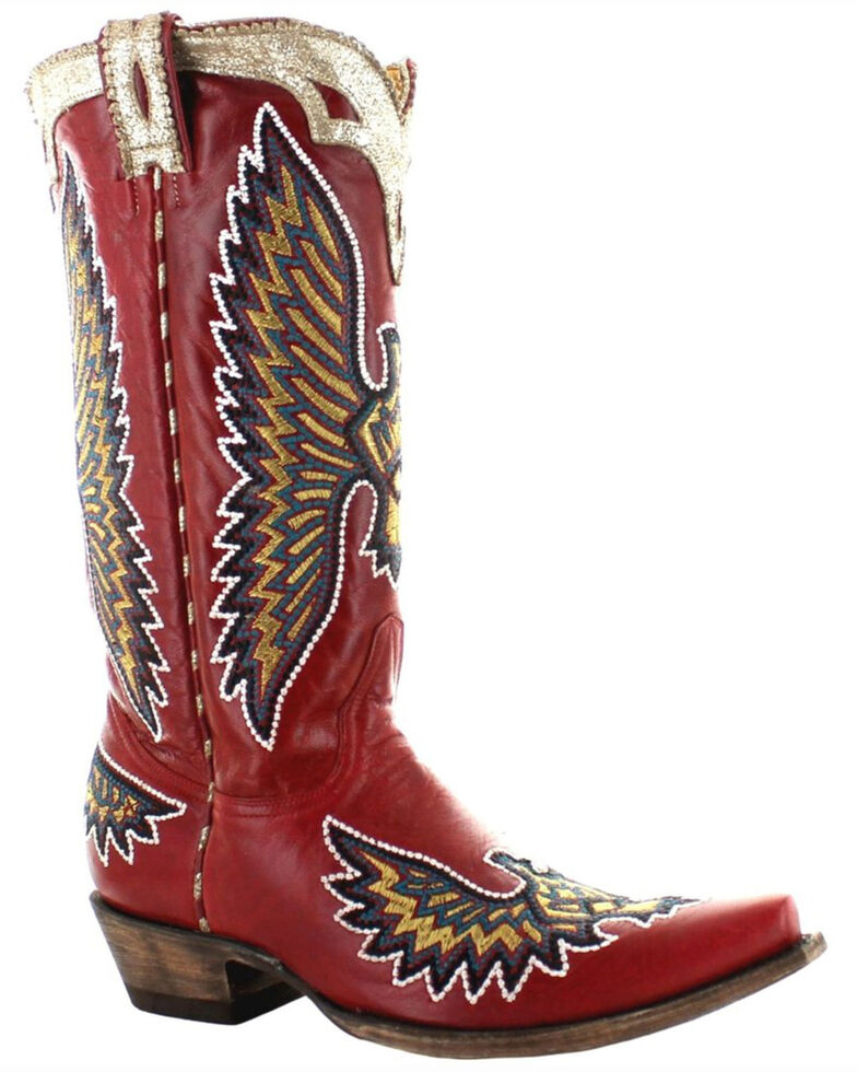 Old Gringo Women's Eagle Stitch Western Boots - Snip Toe, Red, hi-res