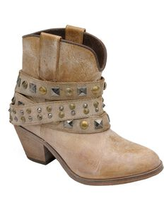 Corral Women's Studded Strap Booties - Round Toe, Tan, hi-res