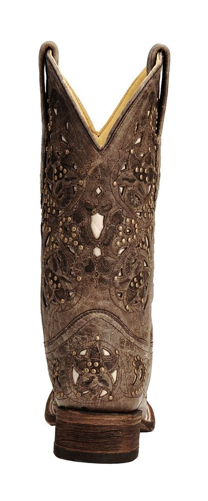 Corral Studded Bone Inlay Crater Cowgirl Boots - Square Toe ... 81f3b10225f