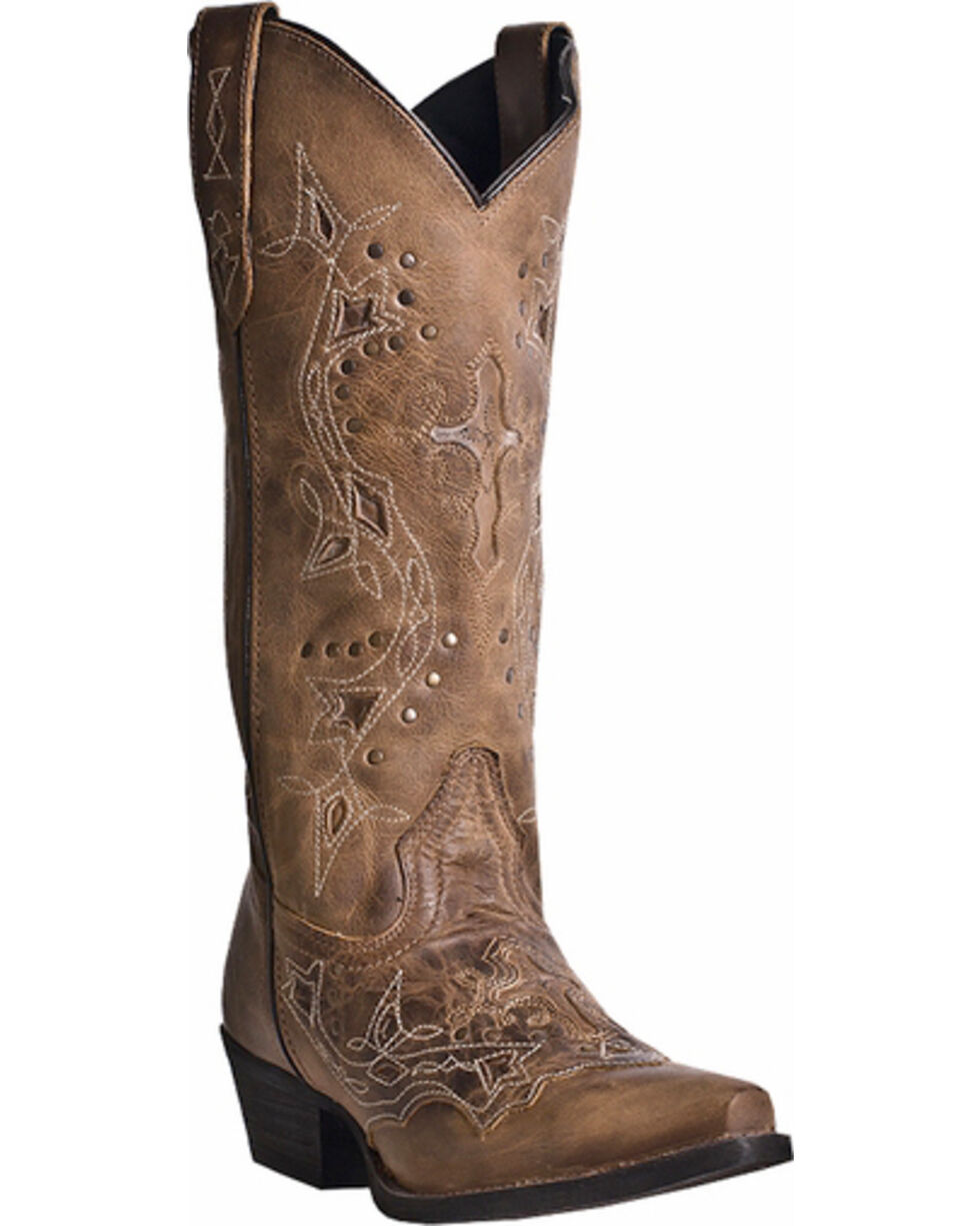 Laredo Cross Point Cowgirl Boots - Snip Toe, Brown, hi-res