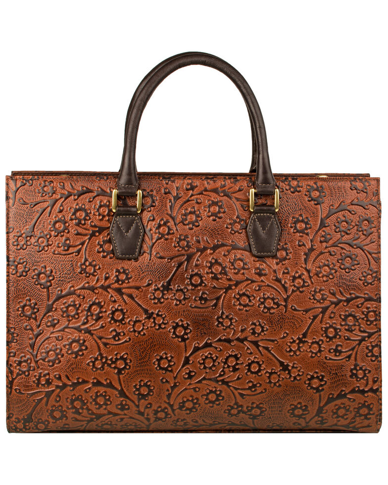 Scully Women's Embossed Floral Handbag, Brown, hi-res