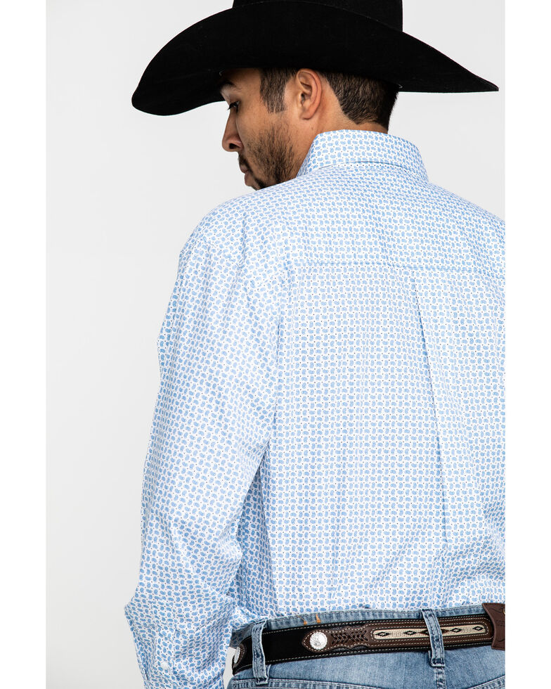 George Strait By Wrangler Men's Small Paisley Print Long Sleeve Western Shirt - Big , Blue, hi-res