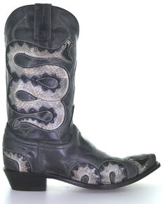 Corral Men's Black Snake Inlay Western Boots - Snip Toe, Black, hi-res