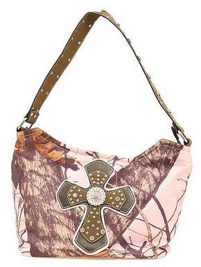 Blazin Roxx Pink Mossy Oak with Cross Applique Hobo Bag, Pink, hi-res