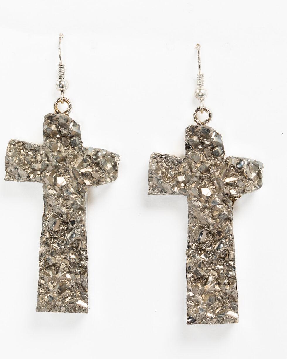 Shyanne Women's Slate Sparkle Druzy Cross Earrings, Slate, hi-res