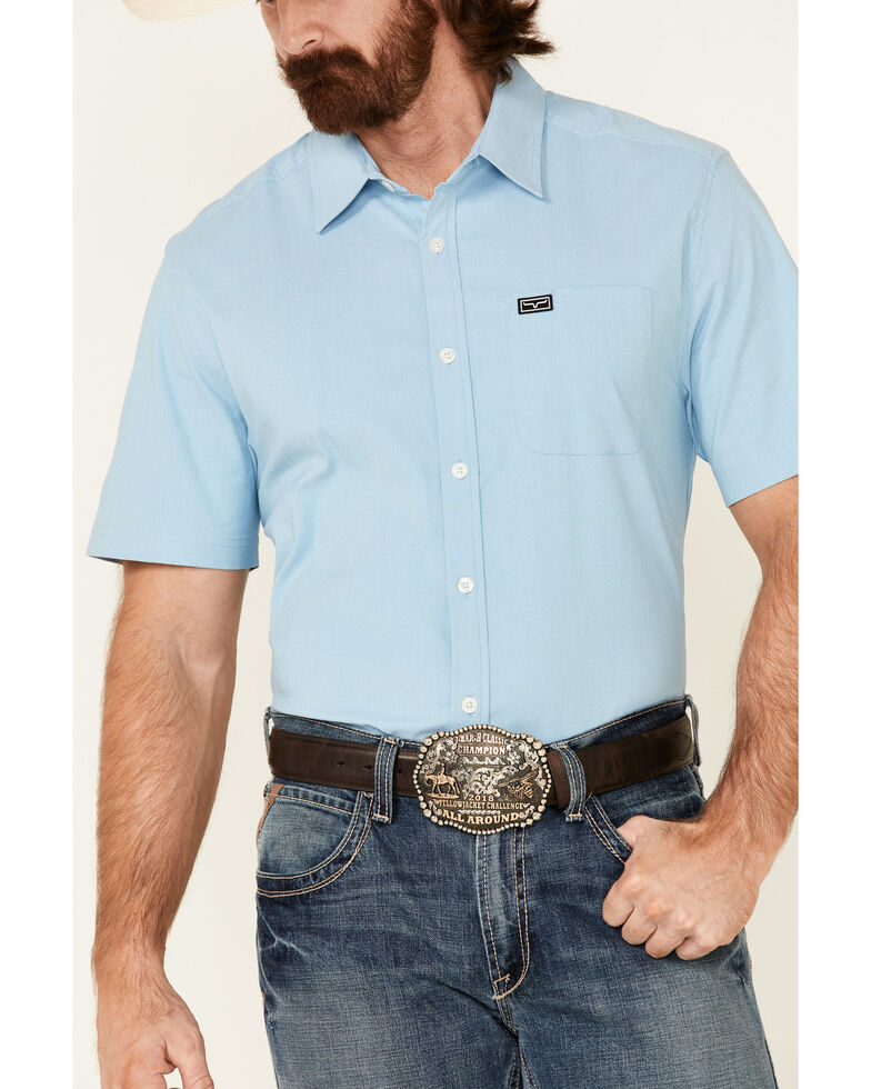 Kimes Ranch Men's Light Blue Linville Coolmax Short Sleeve Button-Down Western Shirt, Blue, hi-res