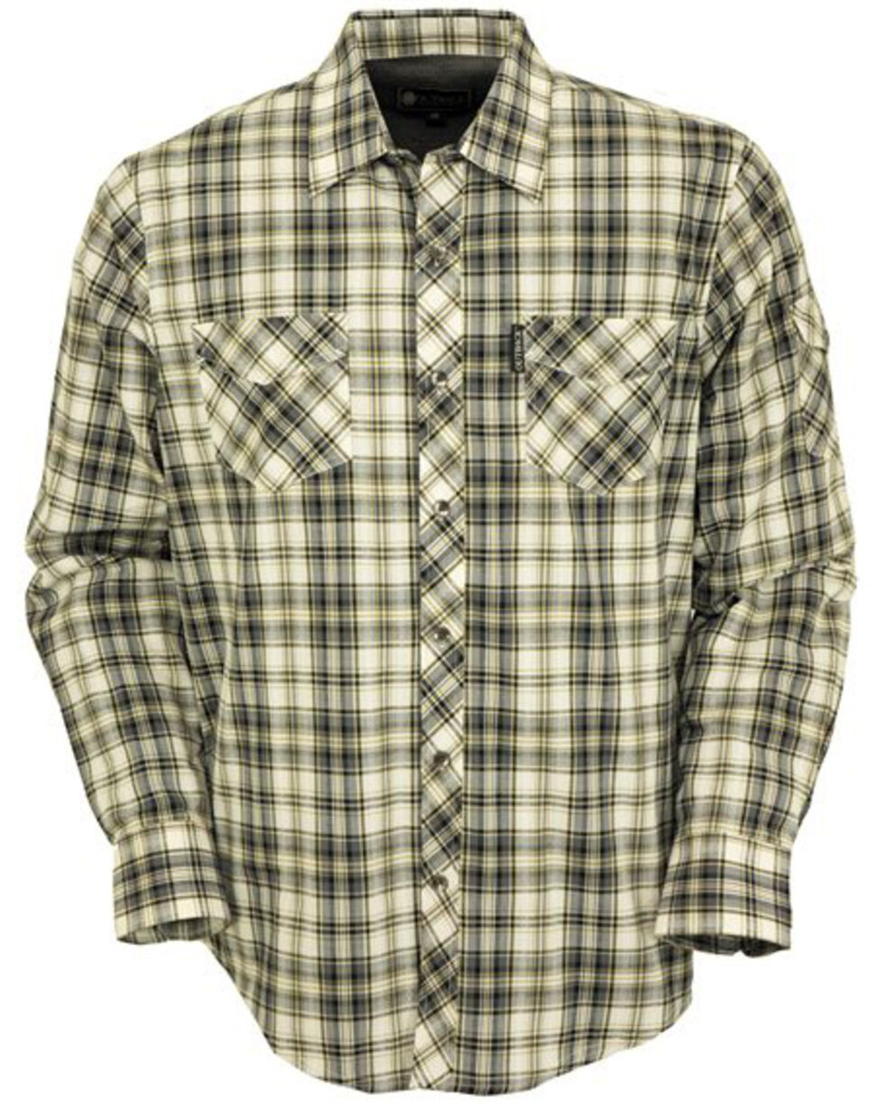 Outback Trading Co. Men's Beau Thermal Lined Plaid Long Sleeve Button Down Shirt, Grey, hi-res