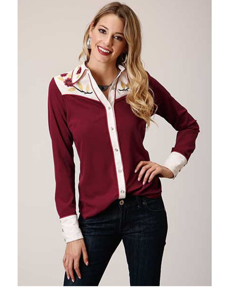 Studio West Women's Red Vintage Floral Embroidered Long Sleeve Western Shirt , Red, hi-res