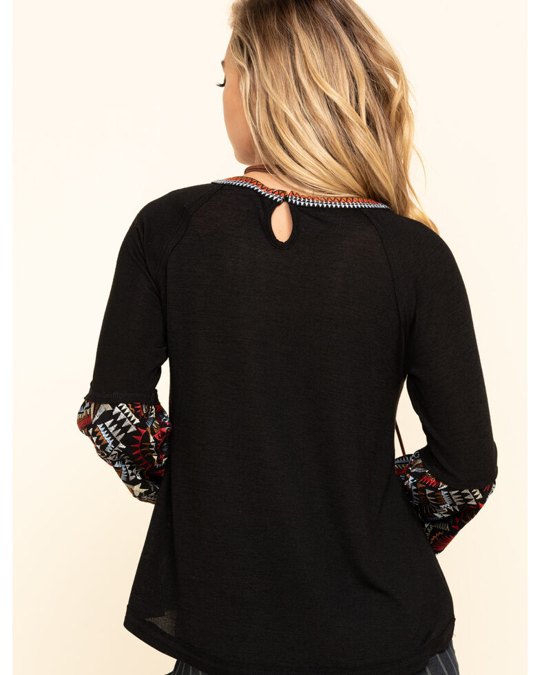 Miss Me Women's Black Keyhole Embroidered Top, Black, hi-res