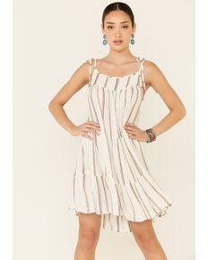 Elan Women's White Striped Tiered Sundress, White, hi-res