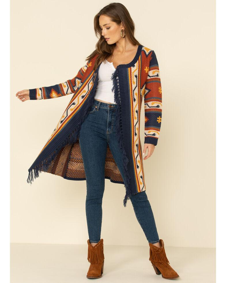 Joseph Studio Women's Aztec Fringe Cardi Sweater , Rust Copper, hi-res
