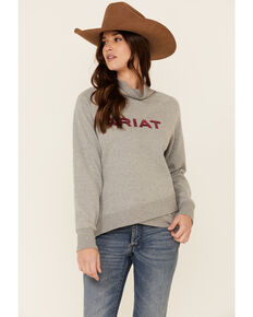 Ariat Women's Heather Grey Crossover Logo Embroidered Pullover Sweatshirt, Heather Grey, hi-res