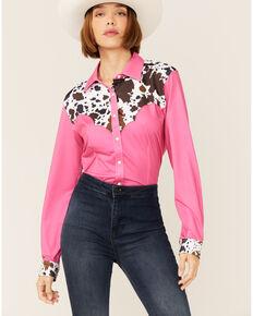 Ranch Dress'n Women's Cow Yoke Shirt, Pink, hi-res