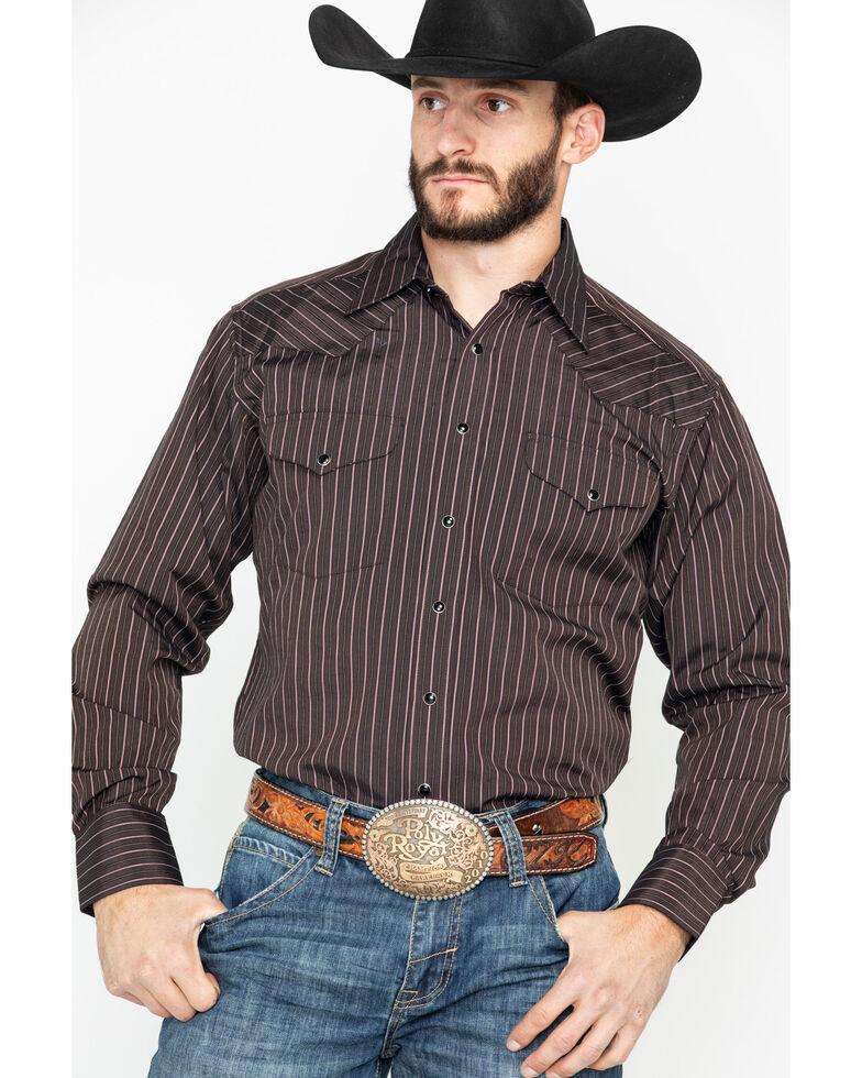Panhandle Men's Striped Special 80/20 Snap Long Sleeve Western Shirt , Brown, hi-res