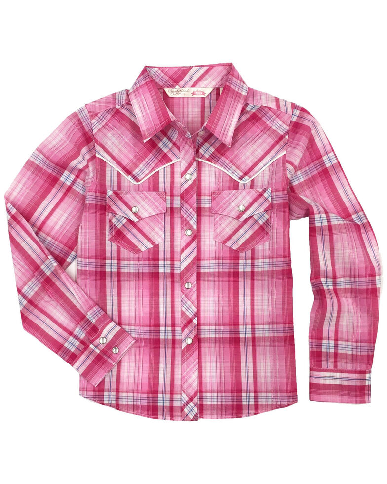 Cumberland Outfitters Toddler Girls' Plaid Lurex Snap Long Sleeve Western Shirt, Pink, hi-res