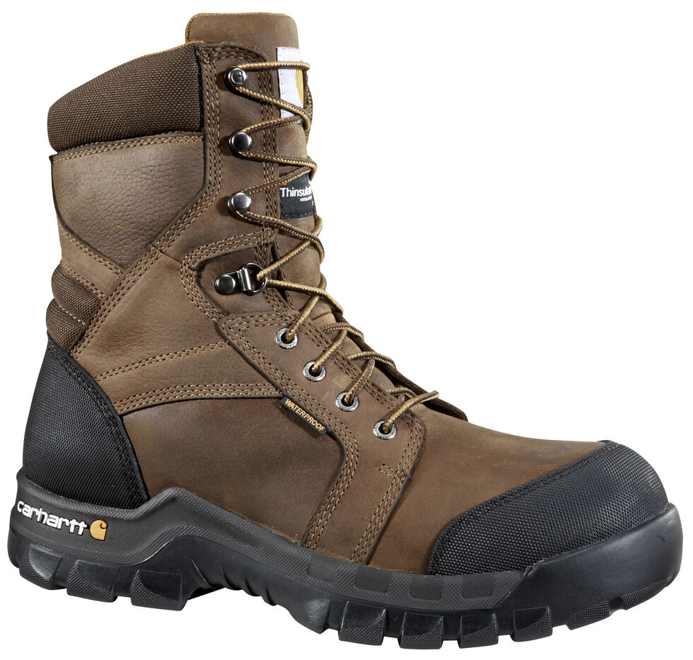 "Carhartt 8"" Composite Toe Rugged Flex Waterproof Insulated Work Boots, Dark Brown, hi-res"