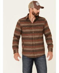 Pendleton Men's Taupel Lambswool Horizontal Stripe Long Sleeve Button-Down Shirt Jacket , Taupe, hi-res