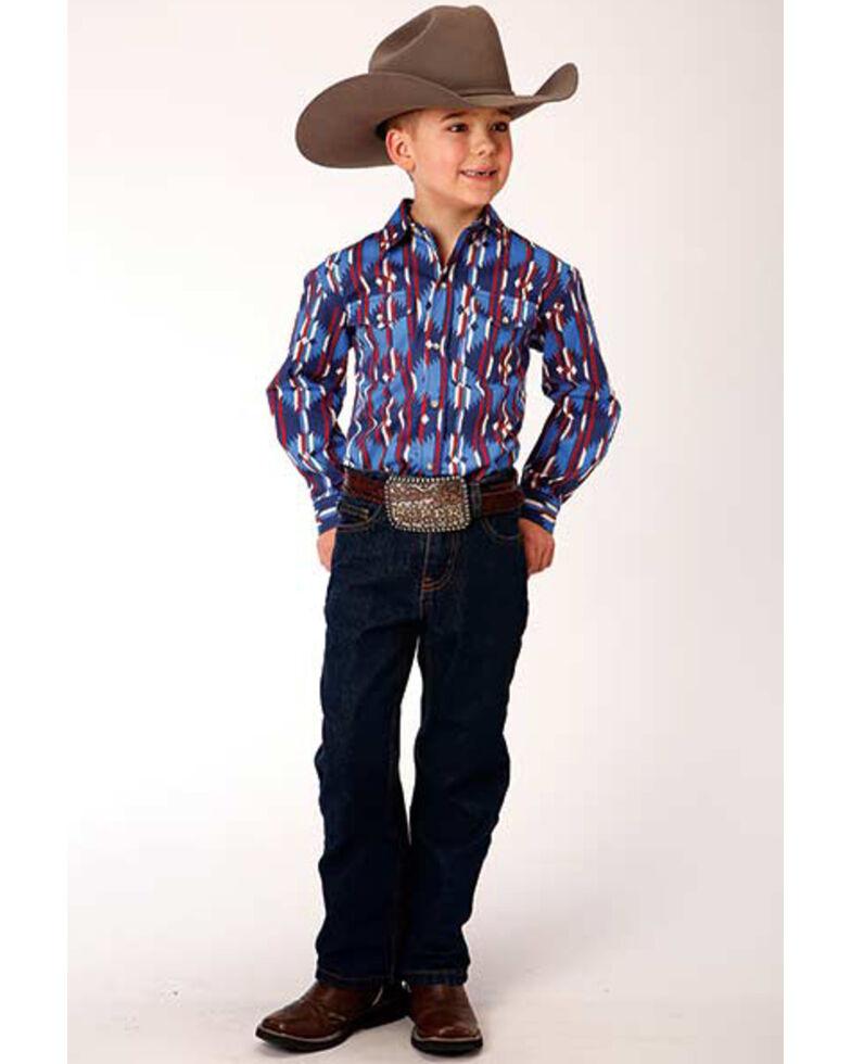Roper Boys' Blue Retro Aztec Striped Long Sleeve Western Shirt , Blue/red, hi-res