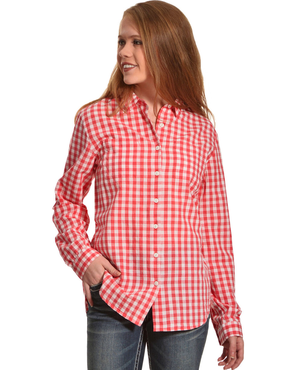 New Direction Sport Women's Gingham Plaid Shirt , Coral, hi-res