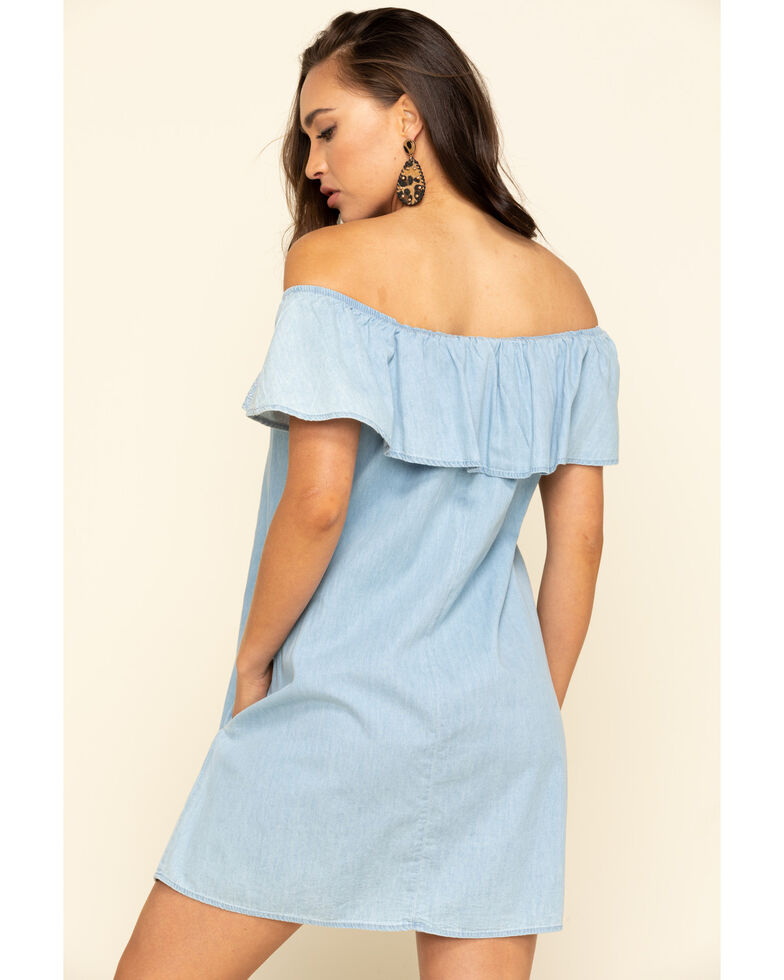 Red Label by Panhandle Women's Chambray Ruffle Off The Shoulder Dress, Blue, hi-res
