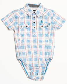50aa53c3d Cody James Infant Boys Crooks Cross Plaid Short Sleeve Onesie, White, hi-res