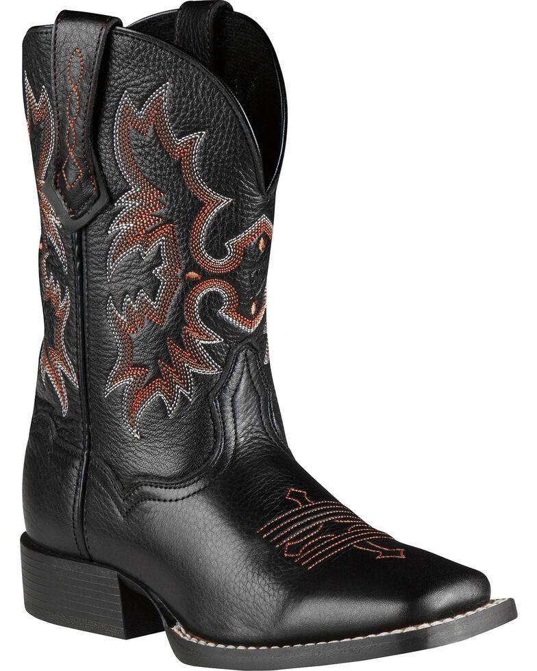 Ariat Boys' Tombstone Black Deertan Cowboy Boots, Black, hi-res