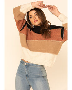 Elan Women's Tan Wide Striped Lurex Crew Sweater, Tan, hi-res
