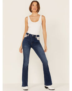 Ranch Dress'n Women's Medium Wash Ember Aztec Mid Rise Bootcut Jeans , Blue, hi-res