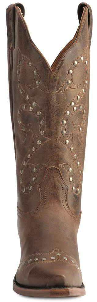 Boulet Women's Studded & Distressed Leather Cowgirl Boots - Snip Toe, Tan, hi-res