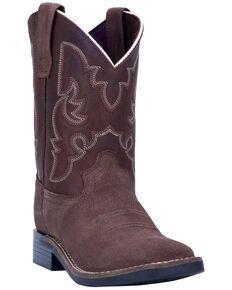 "Dan Post Boys' 9"" Davie Western Boots - Wide Square Toe, Brown, hi-res"