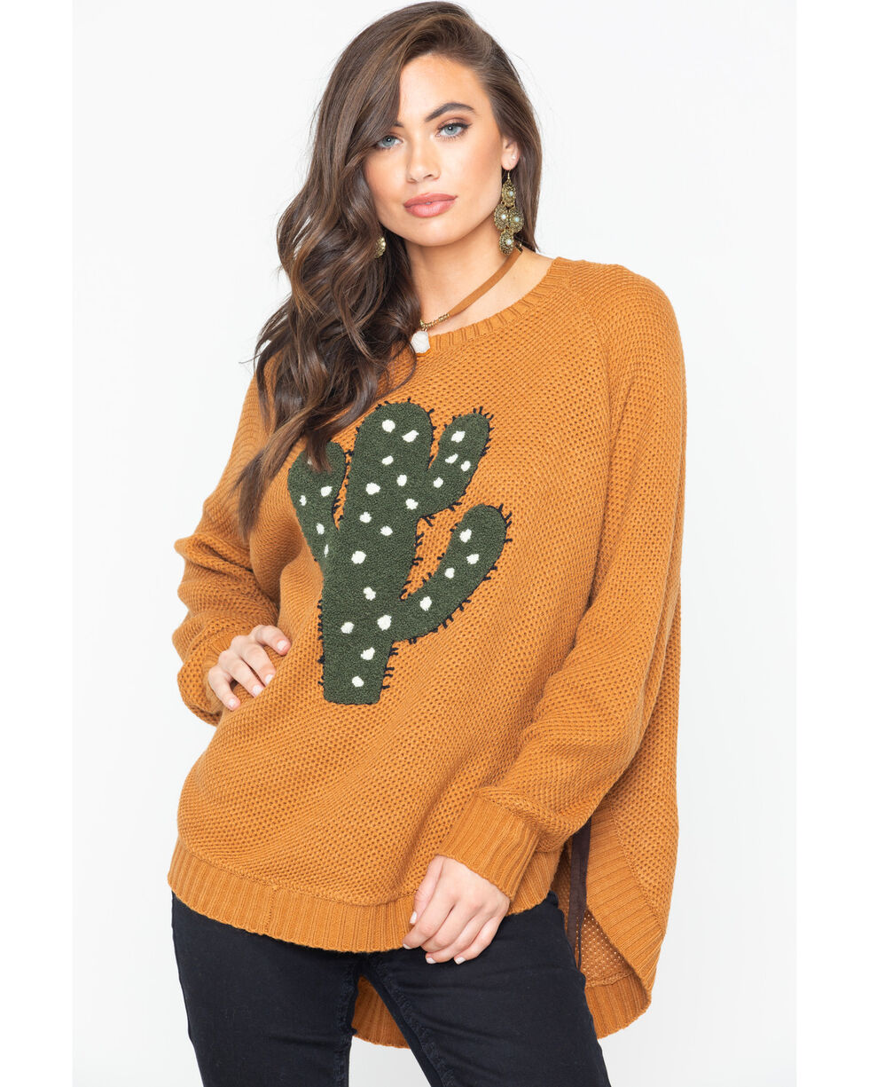Wrangler Women's Cactus Knit Sweater , Dark Yellow, hi-res