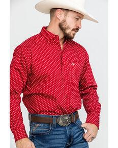 Ariat Men's Danton Stretch Geo Print Long Sleeve Western Shirt , Burgundy, hi-res