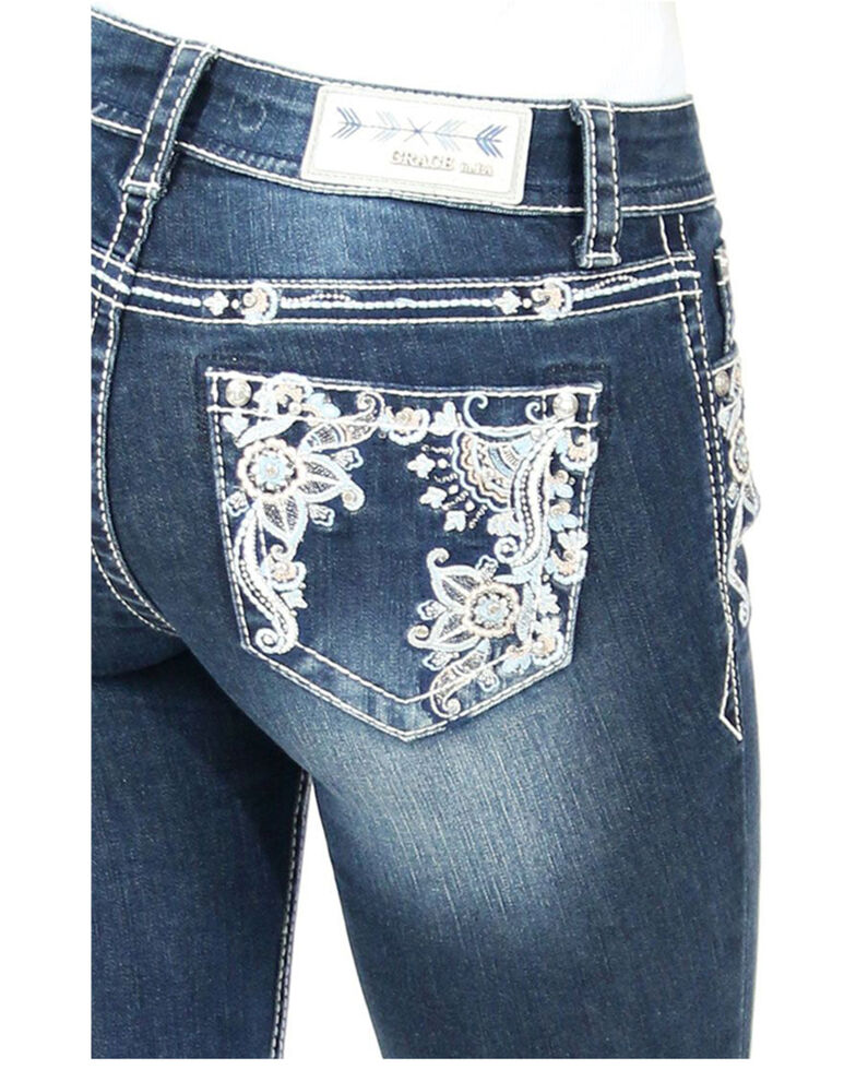 Grace in LA Women's Paisley Pocket Bootcut Jeans, Blue, hi-res
