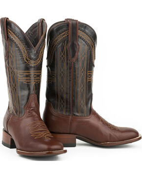 Stetson Men's Brown Goat Vamp Western Boots - Square Toe , Brown, hi-res