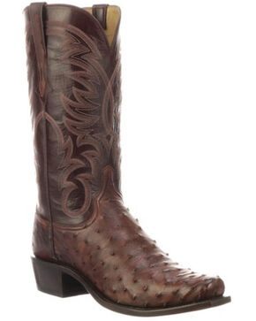 Lucchese Men's Hugo Full-Quill Ostrich Western Boots - Round Toe, Mahogany, hi-res