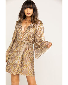 Aratta Women's Gold Wrap Long Sleeve Sequin Mini Dress , Gold, hi-res