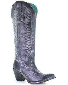 Corral Women's Black Embroidery Western Boots - Snip Toe, Grey, hi-res