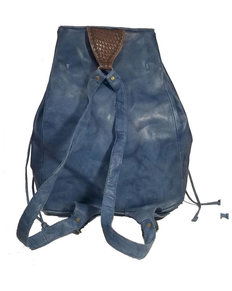 Kobler Leather Women's Tooled Backpack, Blue, hi-res