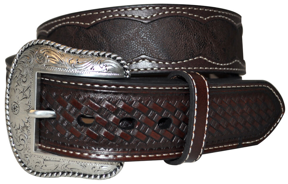 Roper Men's Brown Elephant Print Belt, Brown, hi-res