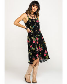 Nikki Erin Women's Black Floral Button Down Dress, Black/white, hi-res